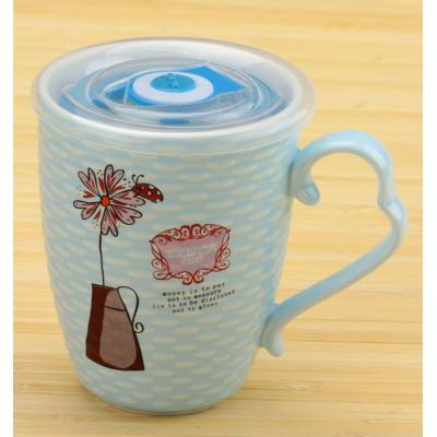 Чашка з квіткою і термокришкою блакитна